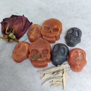 Wax melts protection moon skulls w crystals set 7